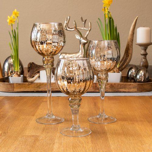 Glas Windlicht Champagner Glanz 30 | Allgäu Deko