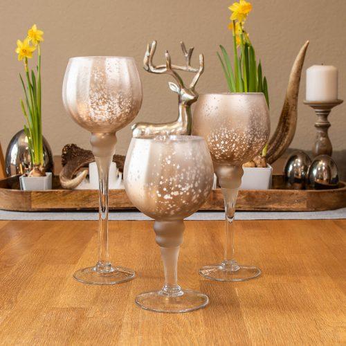 Glas Windlicht Champagner Matt 30 | Allgäu Deko