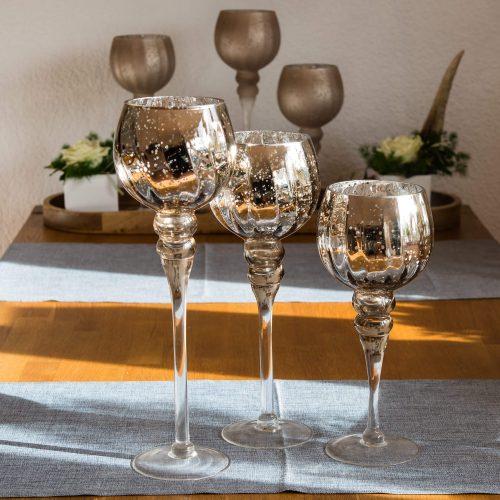 Glas Windlicht Champagner-Glanz | Allgäu Deko