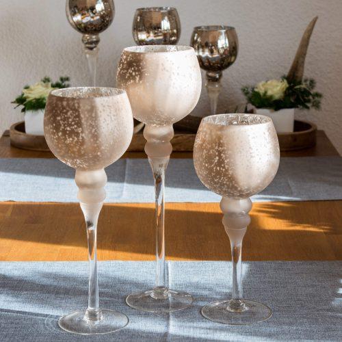Glas Windlicht Champagner-Matt | Allgäu Deko