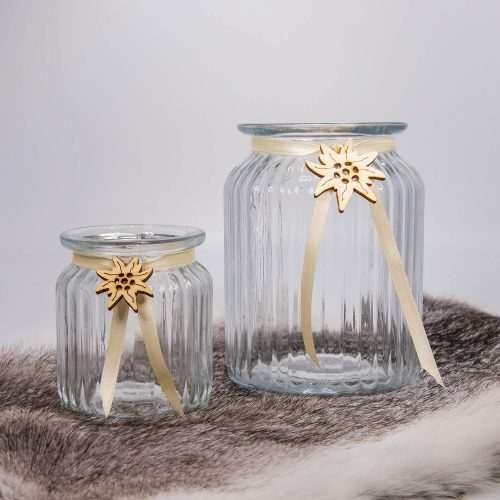Glaswindlicht dekoriert mit Edelweiss | Allgäu Deko
