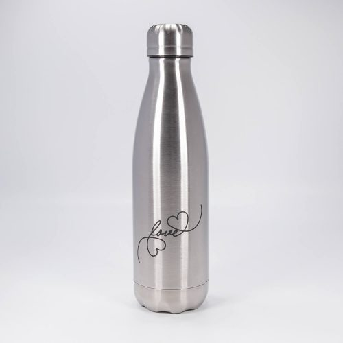 Isolierflasche silber love | Allgäu Deko