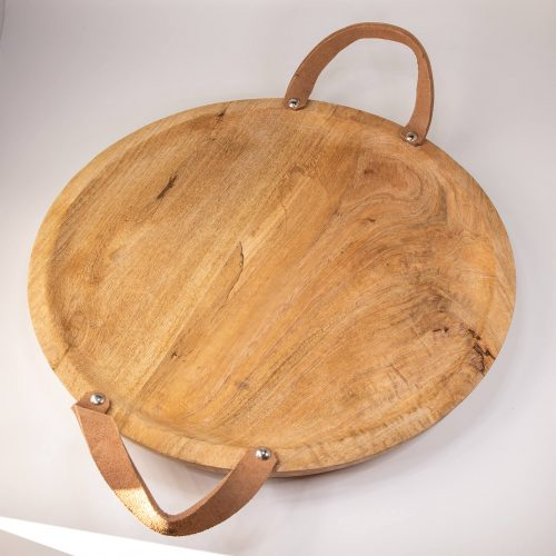 Rundes Holztablett mit Ledergriffen gross