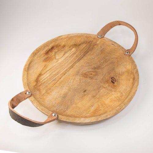 Rundes Holztablett mit Ledergriffen klein