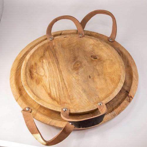Rundes Holztablett mit Ledergriffen Set