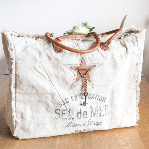 SEL de MER Tasche beige aus Leinen und Leder | Allgäu Deko
