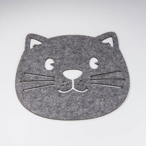 Topfuntersetzer aus Filz in Katzenform grau | Allgäu Deko