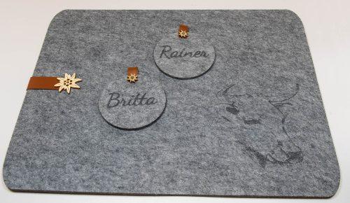 Filzuntersetzer individualisiert per Lasergravur | Allgäu Deko