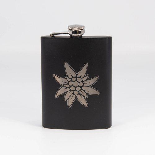 Flachmann schwarz Edelweiss | Allgäu Deko