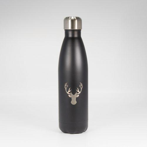 Isolierflasche schwarz Hirschkopf | Allgäu Deko