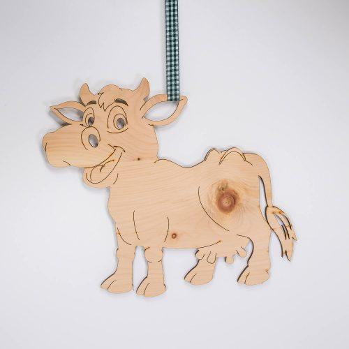 Glückliche Kuh aus Zirbenholz   Allgäu Deko